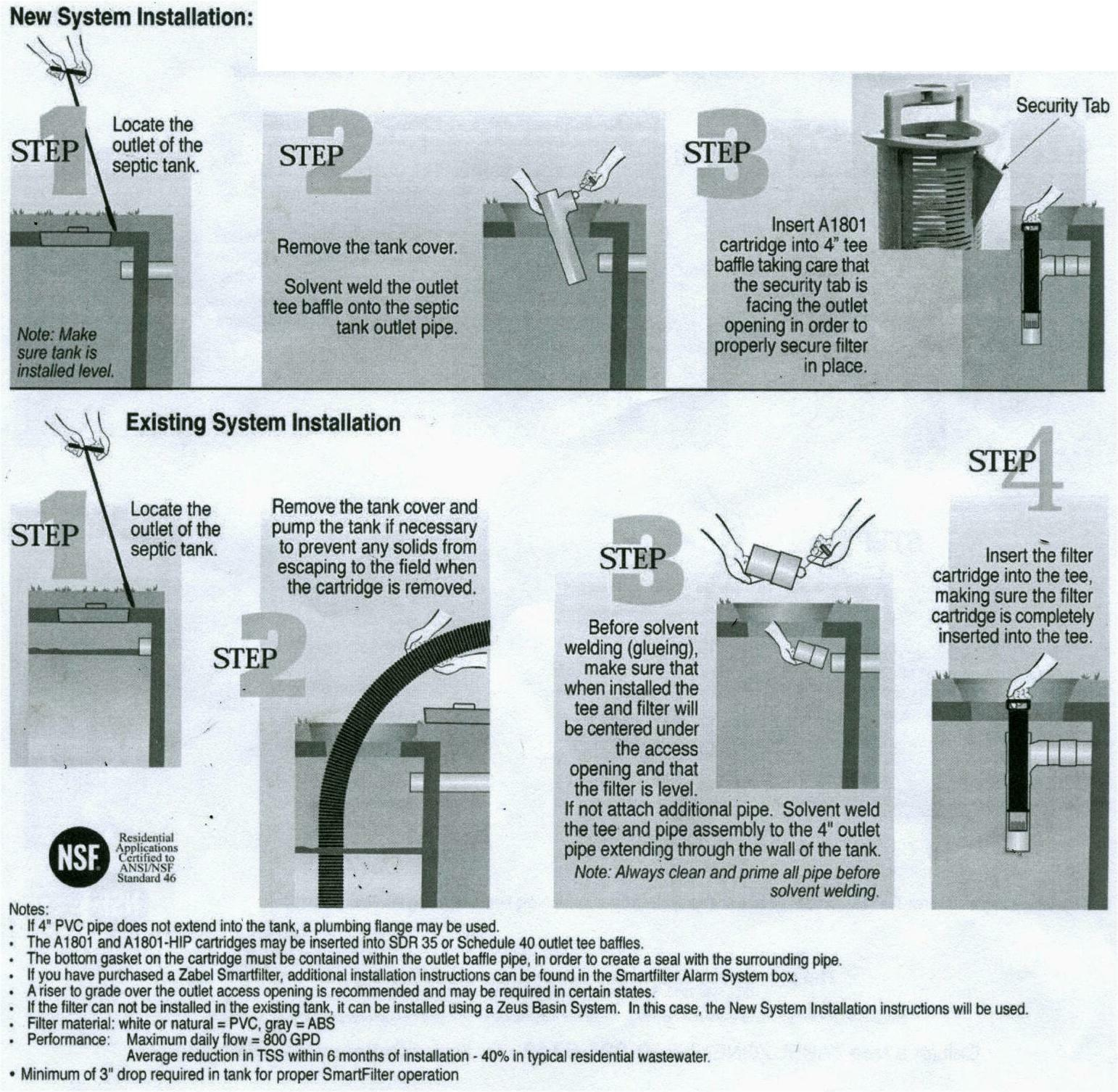 Septic sieve filter for sewage tank installation instructions