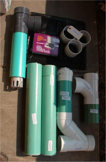 Complete set of parts, fittings, and filter shipped with greywater disposal system kit