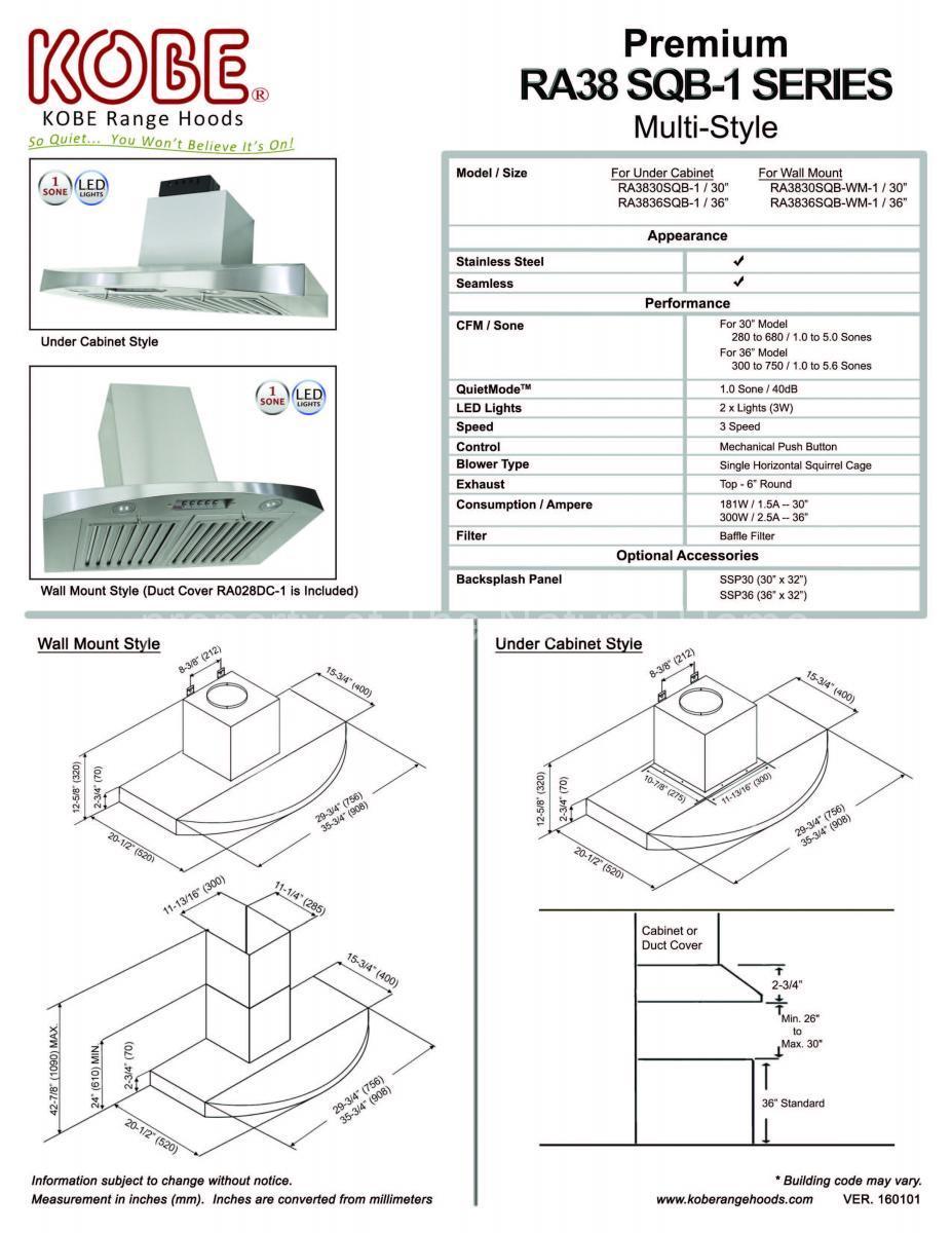 Kobe RA3830SQB-WM-1 RA3836SQB-WM-1 wall mount stainless