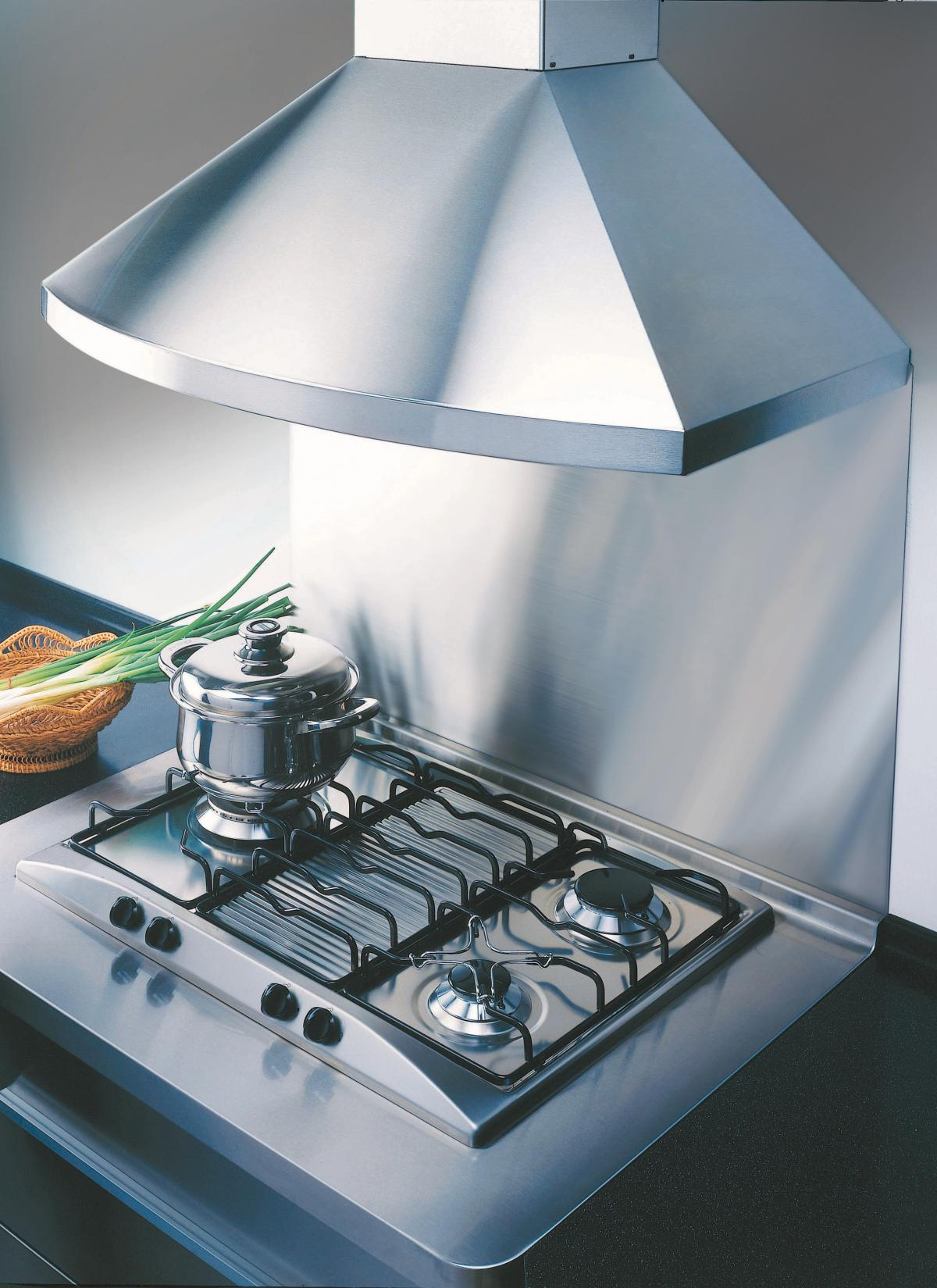 Kobe RA9230SQB-1 and RA9236SQB-1 curved stainless steel chimney hood ...